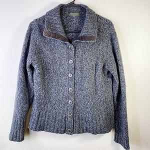Eddie Bauer Grey Brown wool blend cardigan Medium